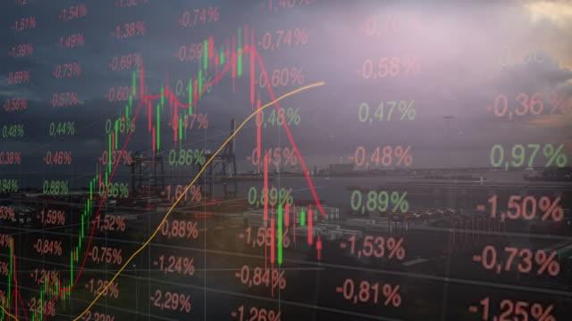 弱気市場とコンテナ輸送港 - 経済点の映像素材/bロール