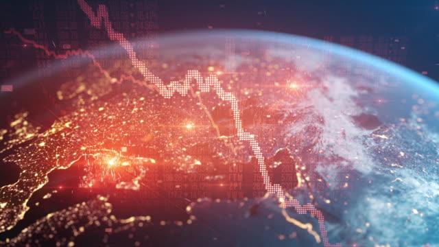 stockvideo's en b-roll-footage met bear market - financiële crash - wereldwijde recessie - europese economie naar beneden - economie