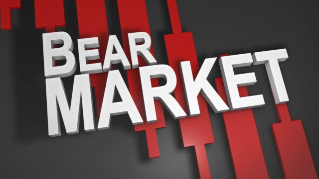Bear market share stock prices fall 3D title animation for stock market