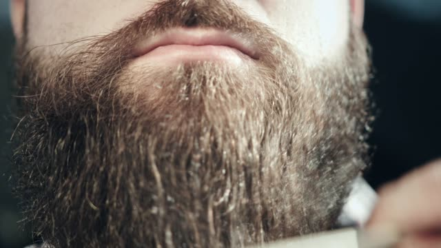 bearded hipster face. hipster moustache lips. moustache man face - baffo peluria del viso video stock e b–roll