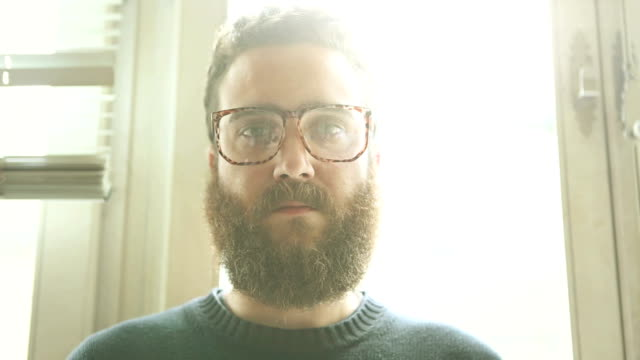 Bearded man portait: hipster video