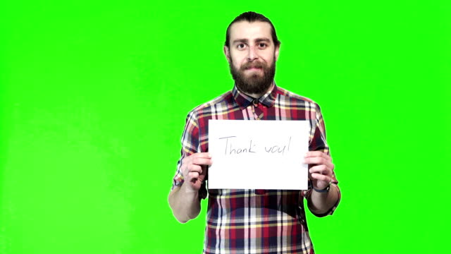 Bearded man with thank you sign in hand video