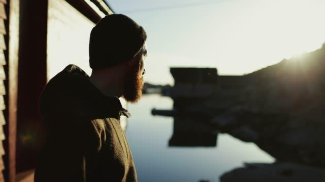 bärtige wikinger mann porträt: ein fjord - blockhütte stock-videos und b-roll-filmmaterial