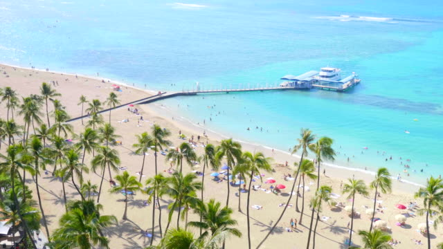 Beatiful view at tropical Waikiki Beach in Hawaii in 4k slow motion 60fps Professional video of beatiful view at tropical Waikiki Beach in Hawaii in 4k slow motion 60fps waikiki stock videos & royalty-free footage