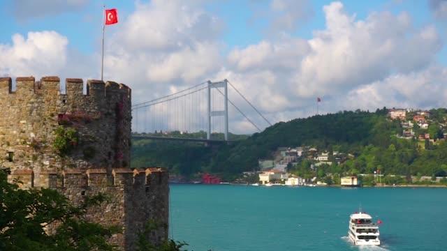 Beatiful View of Marmara Sea, Fatih Sultan Mehmet Bridge and Rumeli Fortress