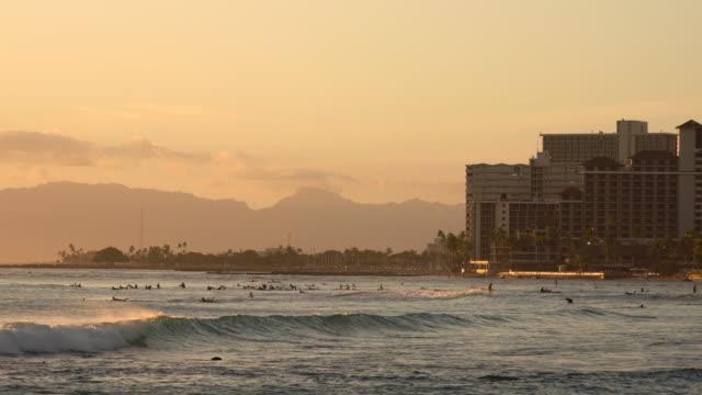 Beautifu Waikiki seascape at sunset / Honolulu, HI, USA