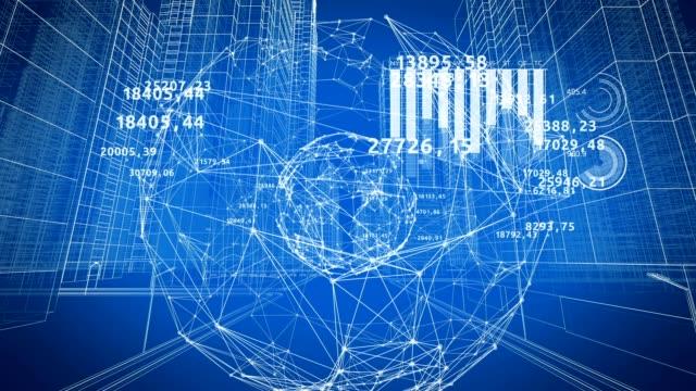 数字やグラフで都市通りを通して抽象的なグローバル ネットワークの美しい 3 d アニメーション。グローバル ビジネスと技術コンセプト。ループ アニメーション 4 k uhd 3840 x 2160。 - 科学研究点の映像素材/bロール