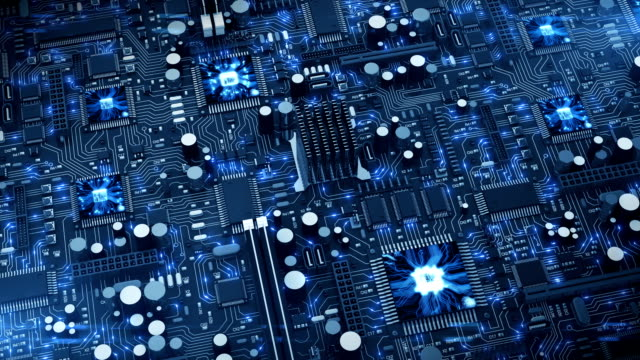 Beautiful 3d animation of the Endless Motherboard with Moving Light Signals and Working Processors. Looped Motion over the Circuit Board. video