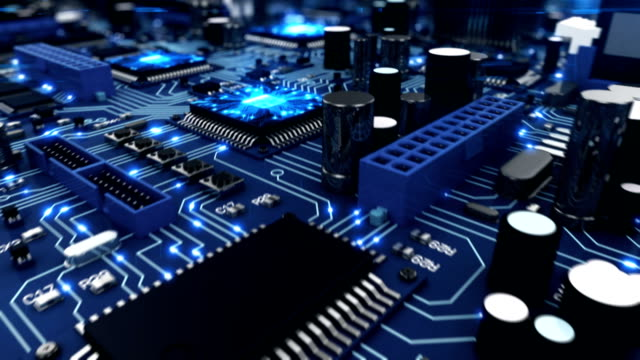 Beautiful 3d animation of the Motherboard with Moving Light Signals and Working Processors in Close-up Seamless. DOF Blur. Looped Flight over the Circuit Board. video