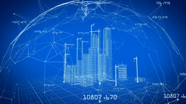 Beautiful 3d Blueprint of Contemporary Buildings with Cranes inside Network. Flying Over Growing City Project. Blue color 3d animation. Construction Business and Technology Concept. 4k UHD 3840x2160. Beautiful 3d Blueprint of Contemporary Buildings with Cranes inside Network. Flying Over Growing City Project. Blue color 3d animation. Construction Business and Technology Concept. 4k UHD 3840x2160. blueprint stock videos & royalty-free footage