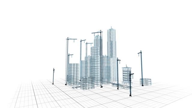 vackra 3d blåkopia av moderna byggkranar och byggnader. flygande över växande staden. abstrakta 3d-animering. byggbranschen och teknik koncept. 4k uhd 3840 x 2160. - architecture bildbanksvideor och videomaterial från bakom kulisserna