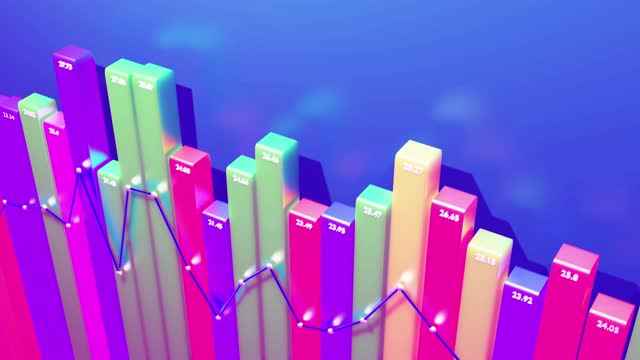 beautiful 3d looped background for analytical programs with abstract infographics, statistical data. Multicolor bars, counters and graph. 3d columns smoothly move up and down in loop. Financial bg video