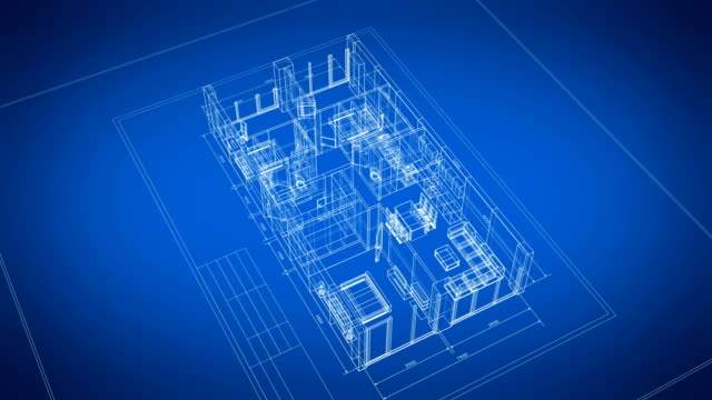 Beautiful Abstract 3d Blueprint of Building Apartments with Furniture Turning on Blue Background. Last Turn is Loop-able. Looped 3d Animation. Construction Business Concept. Beautiful Abstract 3d Blueprint of Building Apartments with Furniture Turning on Blue Background. Last Turn is Loop-able. Looped 3d Animation. Construction Business Concept. 4k Ultra HD 3840x2160. blueprint stock videos & royalty-free footage