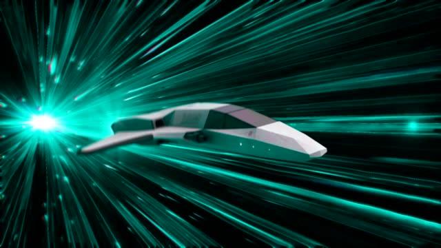 時空間トンネル内の宇宙船の美しい抽象的なアニメーション。アニメーション。ハイパースペースジャンプで未来の宇宙船の3Dアニメーション ビデオ