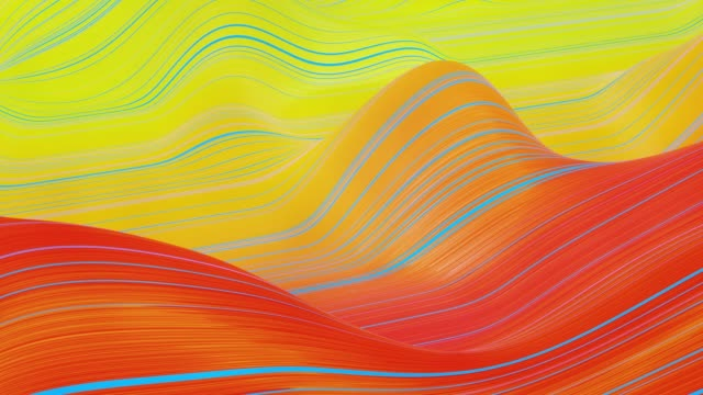 Beautiful abstract background of waves on surface, red yellow color gradients, extruded lines as striped fabric surface with folds or waves on liquid. 4k loop. Glow lines. 21 video