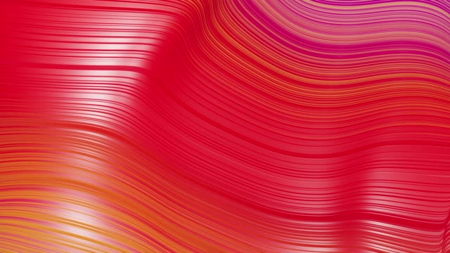 Beautiful abstract background of waves on surface, red yellow color gradients, extruded lines as striped fabric surface with folds or waves on liquid. 4k loop. 3 video