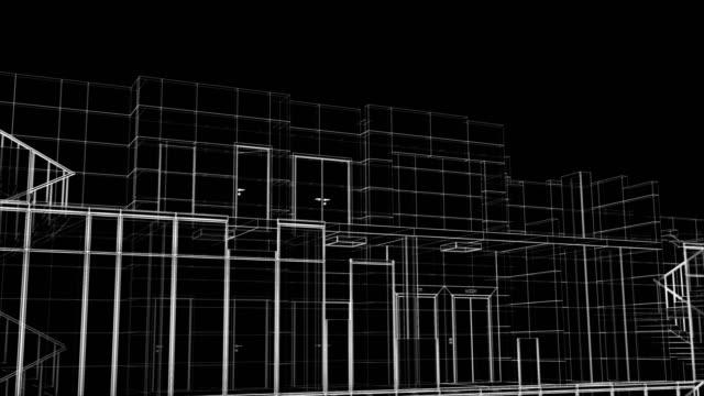 Schöne abstrakte Gebäude Prozess des Wolkenkratzer Sanblueprint Grid nahtlos. Looped 3d Animation des wachsenden Baufortschritts Modernes Gebäude in Linienstruktur. – Video