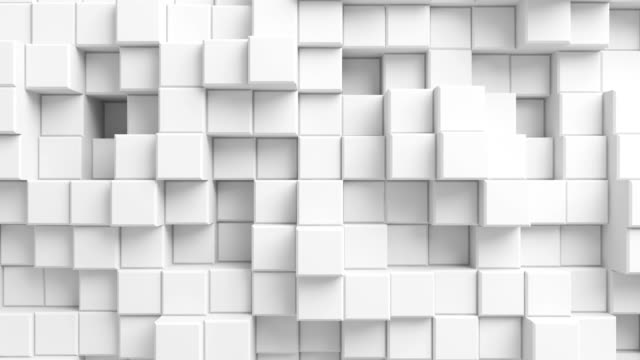 Beautiful Abstract Cubes Looped 3d Animation. White Wall Moving. Seamless Background in 4k Ultra HD.
