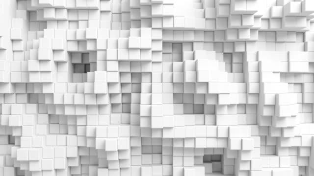 stockvideo's en b-roll-footage met mooie abstracte kubussen bewegen in een lus 3d-animatie. witte muur naadloze achtergrond in 4k ultra hd. - mozaïek