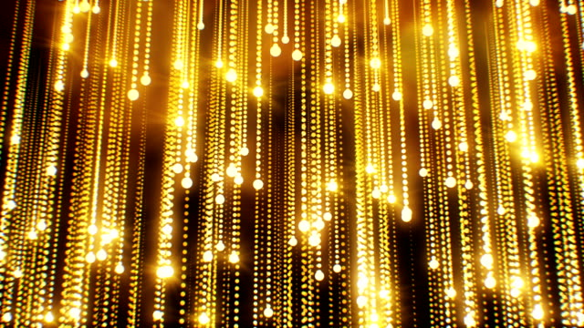 Beautiful Abstract Golden Particles Falling Twinkling Rain with Flares Light Seamless. Looped 3d Animation Moving Gold Bright Dots.