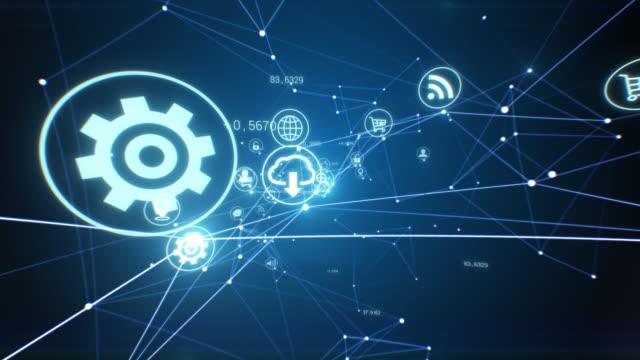 シームレスに流れるソフトウェアアイコンを持つ美しい抽象的な成長ネットワーク。デジタルアイコンとリンクのループ3dアニメーション。サイバースペース点滅ライト。eビジネスコンセプ� - community activism点の映像素材/bロール