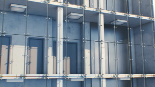 Schöne abstrakte moderne Hohe Gebäude Außen nahtlos. Glas, Metall und Beton. Looped 3d Animation von Wolkenkratzer Fassade mit Innen. – Video