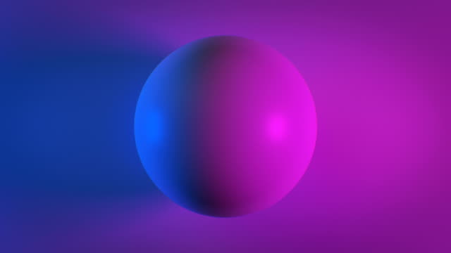 Beautiful Abstract Sphere on Surface in Blue and Purple Ultraviolet Light Looped 3d Animation. Color Globe Seamless Background