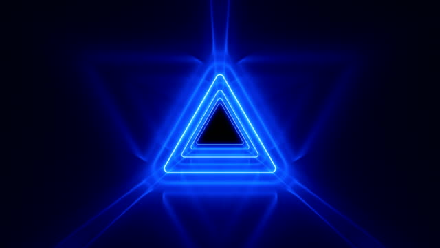 Beautiful Abstract Triangle Tunnel with Neon Light Lines Moving Fast. Blue Bright Colors. Background Futuristic Tunnel with Glowing Lights. Looped 3d Animation Art Concept.