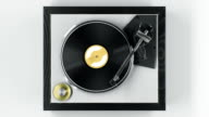 istock Beautiful Abstract Vintage Vinyl Record Player with Turning Disk and Moving Stylus and Needle Top View on White Background Seamless. Looped 3d Animation DJ Turntable Plate. 1142202821