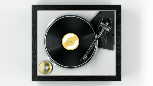 beautiful abstract vintage vinyl record player with turning disk and moving stylus and needle top view on white background seamless. looped 3d animation dj turntable plate. - giradischi video stock e b–roll