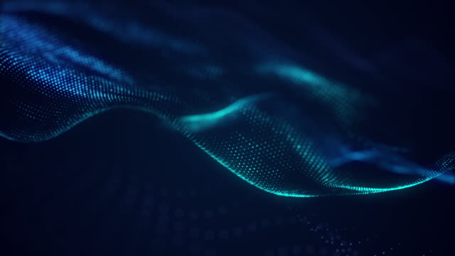 beautiful abstract wave technology background with blue light digital effect corporate concept - энергичность стоковые видео и кадры b-roll