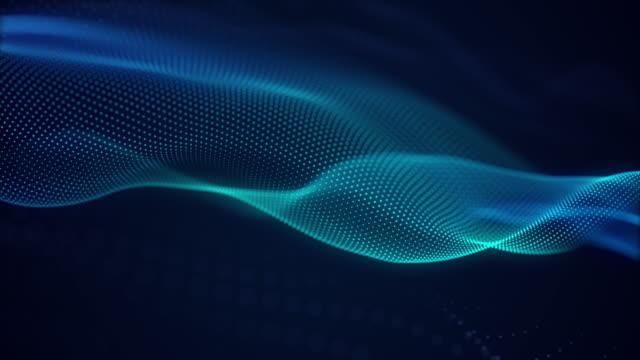 ブルーライトデジタルエフェクト企業コンセプトを持つ美しい抽象波技術の背景 - 曲線点の映像素材/bロール