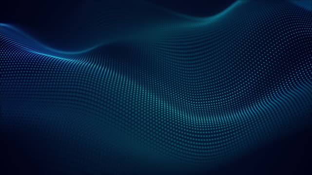 beautiful abstract wave technology background with blue light digital effect corporate concept - frequenza video stock e b–roll
