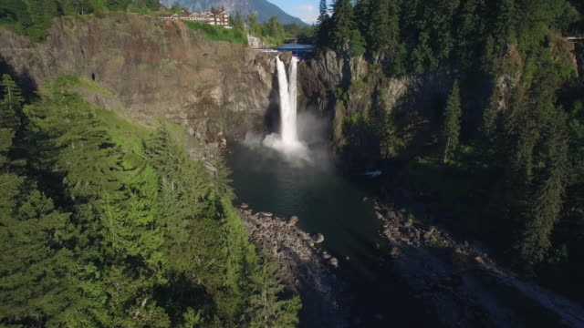 Beautiful Aerial of Pacific Northwest Landmark Snoqualmie Falls and Mount Si in the Background video