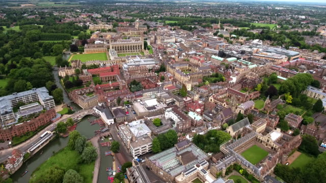 beautiful aerial video of cambridge cityscape 4k - england stock videos & royalty-free footage