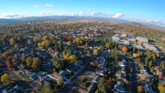 Beautiful Aerial View of City Scene in Rogue Valley Medford Southern Oregon USA