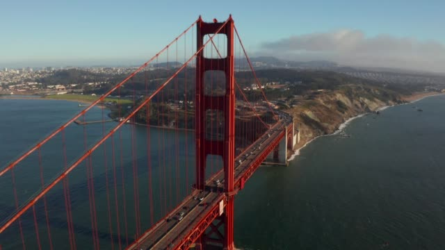 Beautiful aerial view of the Golden Gate bridge