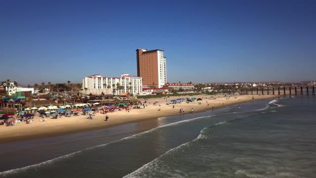 A Beautiful Aerial View Of The Pier On Rosarito Beach In The Baja Peninsula