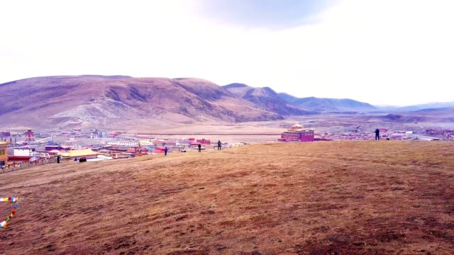 Beautiful aerial view of Tibetan Yarchen Gar Monastery