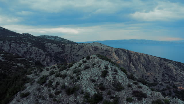Beautiful aerial view over Croatian seaside under Velebit mountains in summer time.