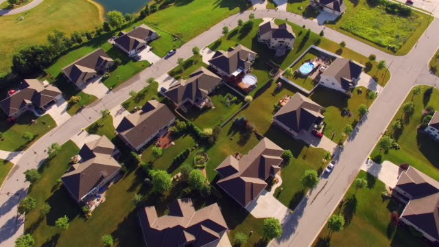 Beautiful Affluent Neighborhood in Beautiful Morning Light, Aerial View video