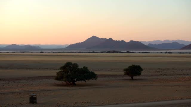 schöne afrikanische savanne. drohne pov. sunrise. - afrikanische steppe dürre stock-videos und b-roll-filmmaterial