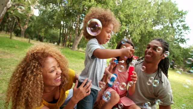 Beautiful african-american family having a picnic and blowing bubbles. video