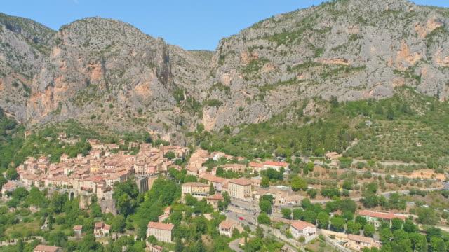 AERIAL Beautiful ancient village Moustier St. Marie