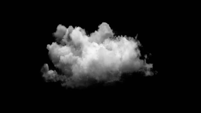 beautiful animation of digital clouds on a black background alpha channel - sfondo nero video stock e b–roll