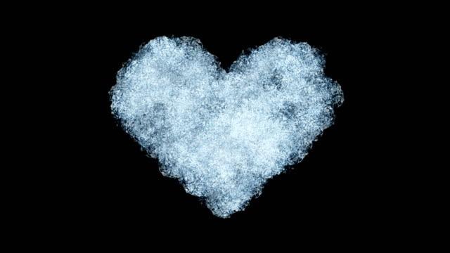 bella animazione della finestra di congelamento che forma la forma del cuore. maschera alfa. congelamento e sbrinamento. - brina ghiaccio video stock e b–roll