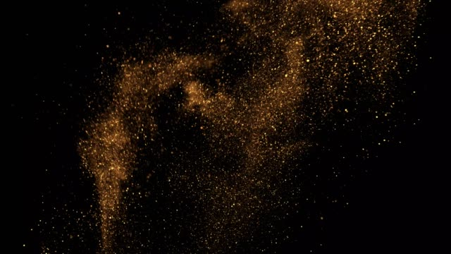 beautiful animation of multi-colored flying flickering particles scattered on a black background - pyłek filmów i materiałów b-roll