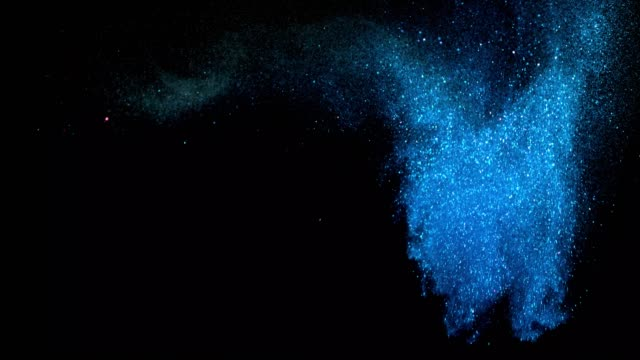 beautiful animation of multi-colored flying flickering particles scattered on a black background - neve farinosa video stock e b–roll