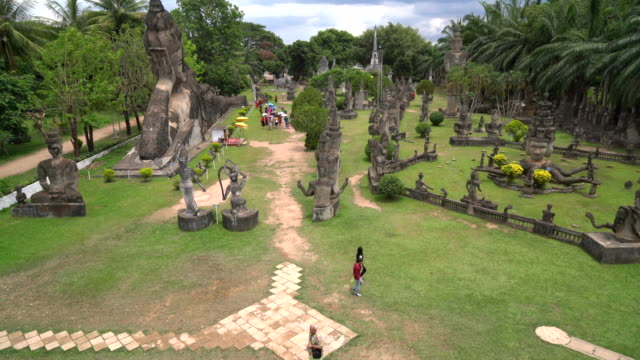 Beautiful architecture at buddha park in Laos video