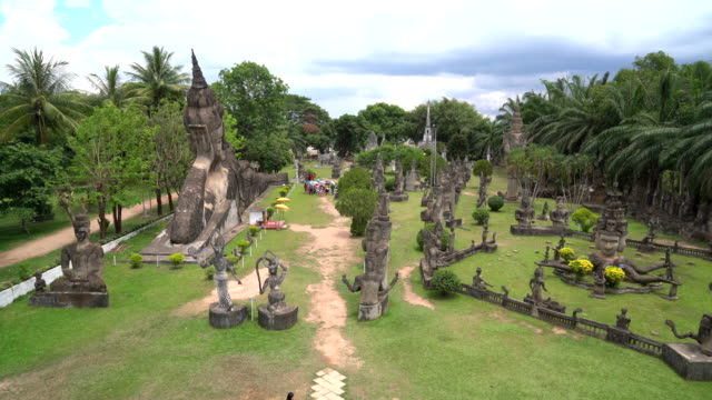Beautiful architecture at buddha park in Vientiane, Laos video